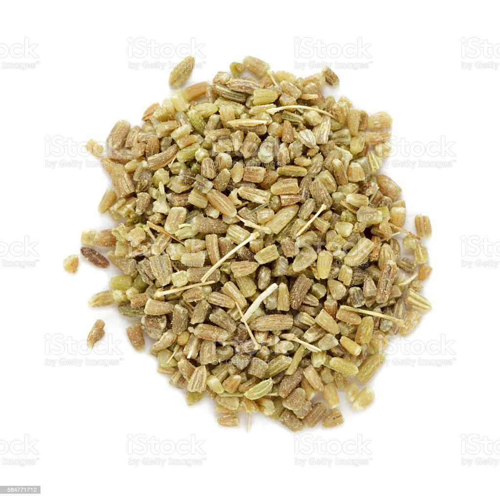 Organic fennel (Foeniculum vulgare) in tea cut size. stock photo