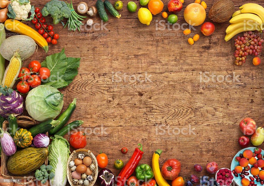 Organic food background stock photo