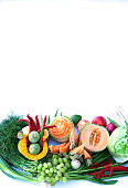 Organic food background, white background, copy space.