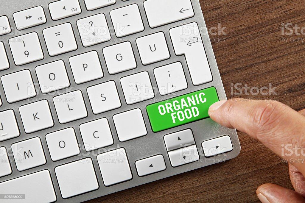 Organic Food Button stock photo