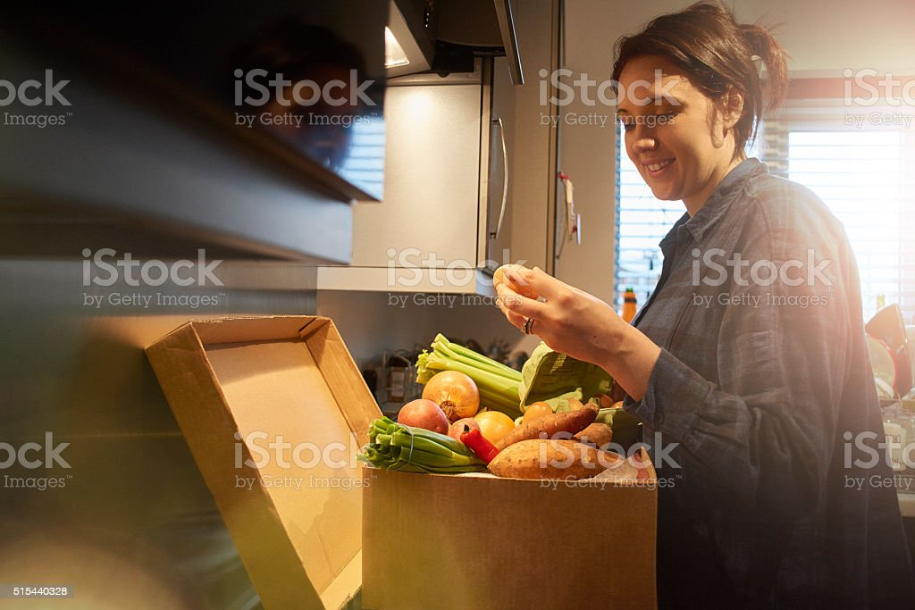 Organic food home delivery stock photo