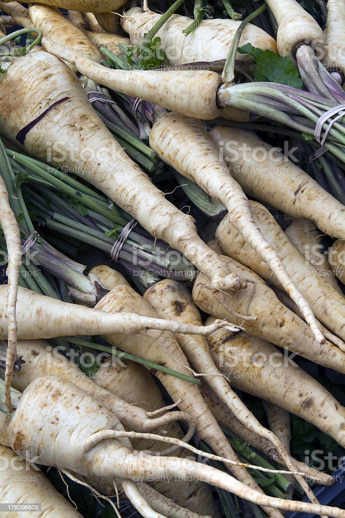 organic food market - white carrots royalty-free stock photo
