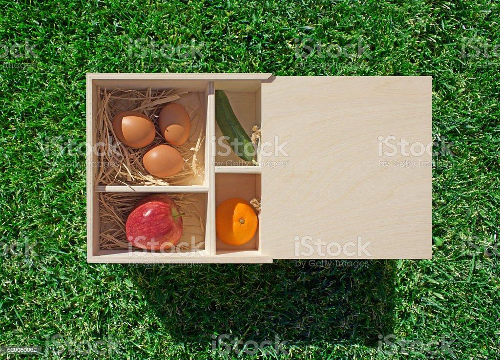 Organic Foods on The Grass stock photo