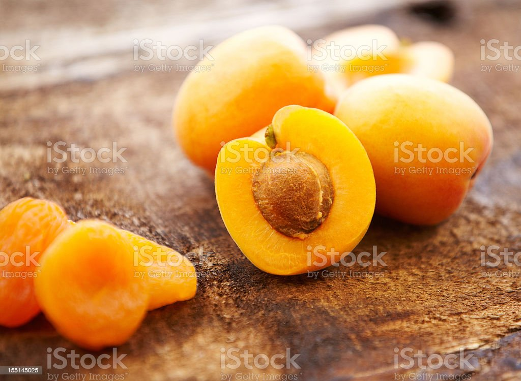 Organic fresh and dried apricots stock photo