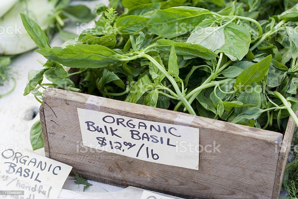 Organic fresh basil at farmers market royalty-free stock photo