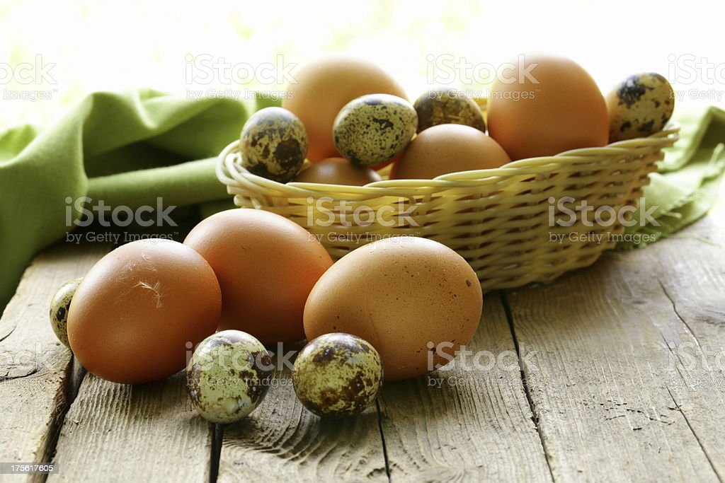 organic fresh eggs on a wooden table royalty-free stock photo
