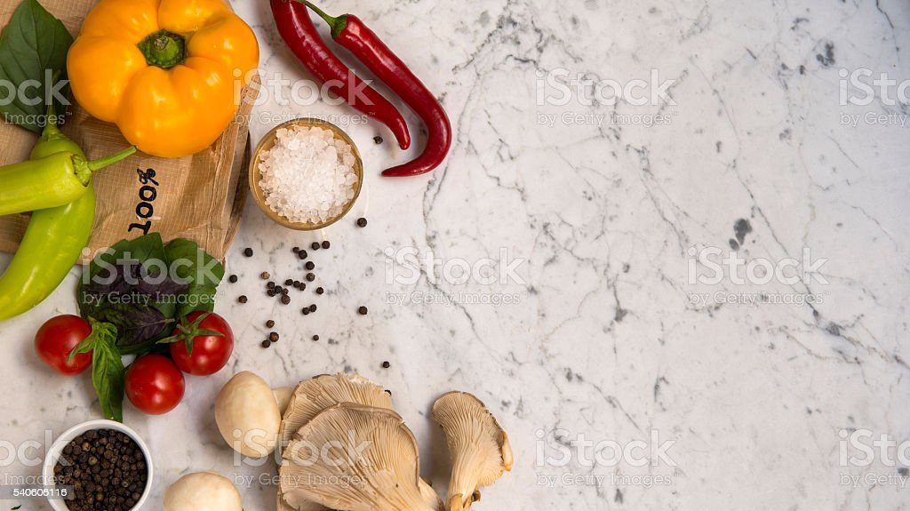 organic fresh vegetables on marble background with copy space stock photo