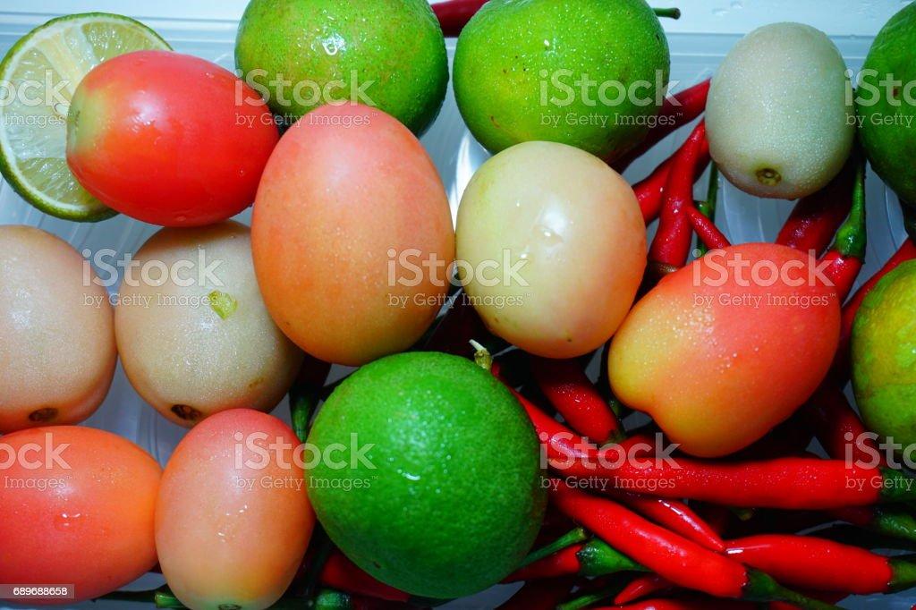 Organic fresh vegetables selling stock photo