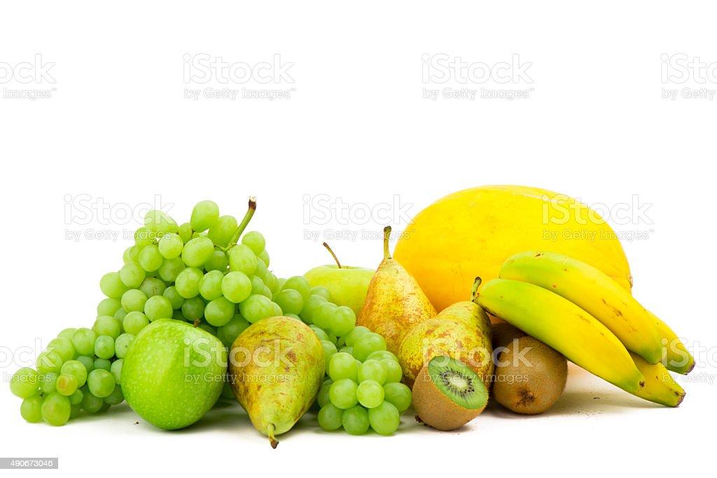 Organic fruit isolated on white stock photo