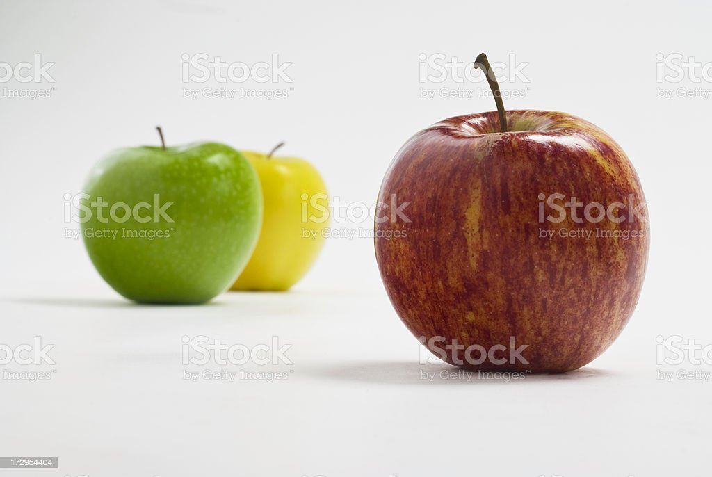 Organic Gala Apple, Granny Smith and Yellow Delicious in Background royalty-free stock photo