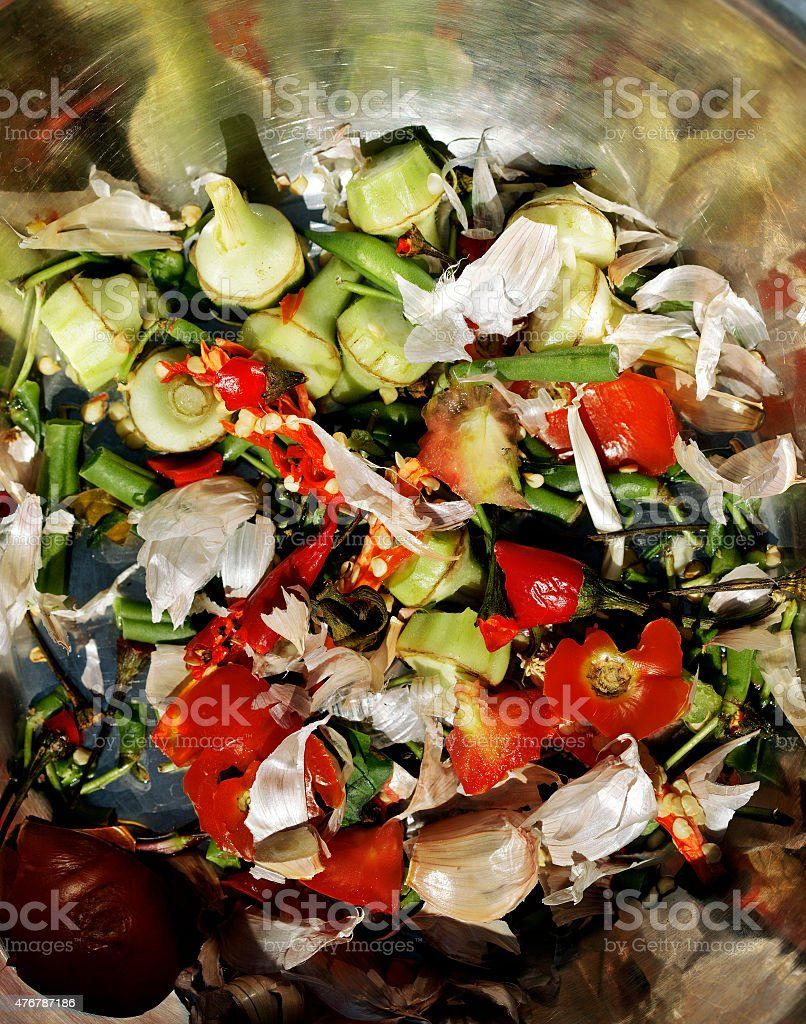 organic garbage, remains of vegetables and green stock photo