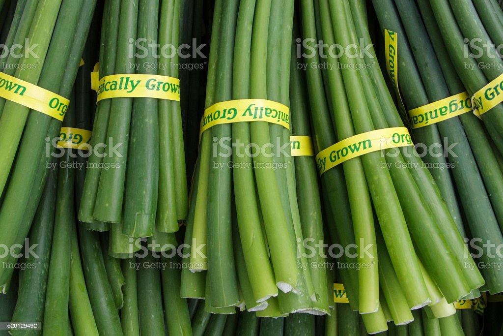 Organic garlic scapes at a farmer's market stock photo
