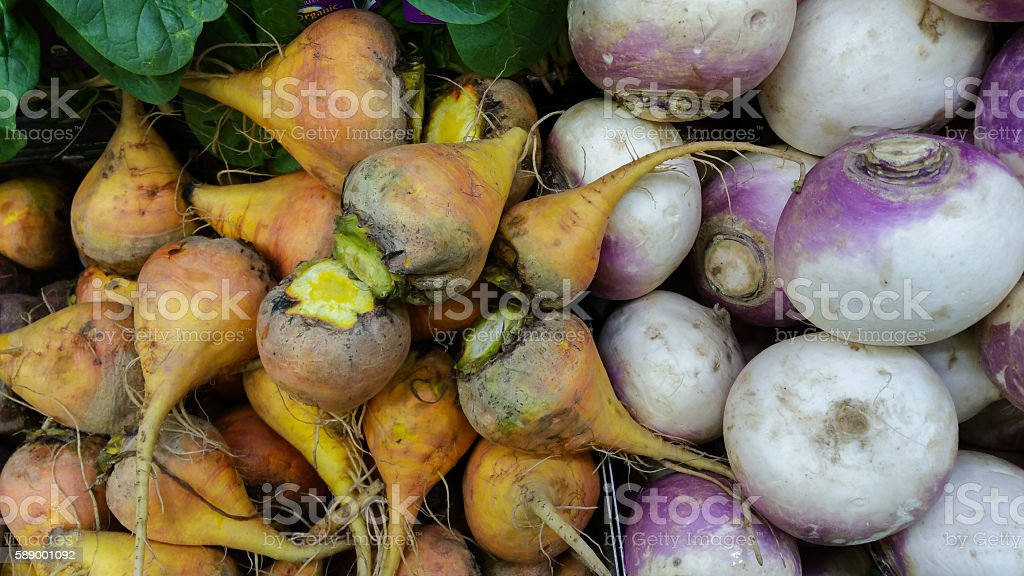 Organic golden beets and turnips (mobile photo) stock photo