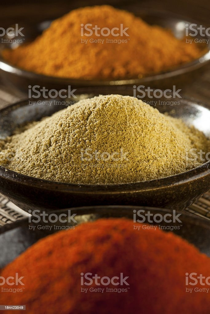 Organic Gourmet Hot Ground Spices royalty-free stock photo