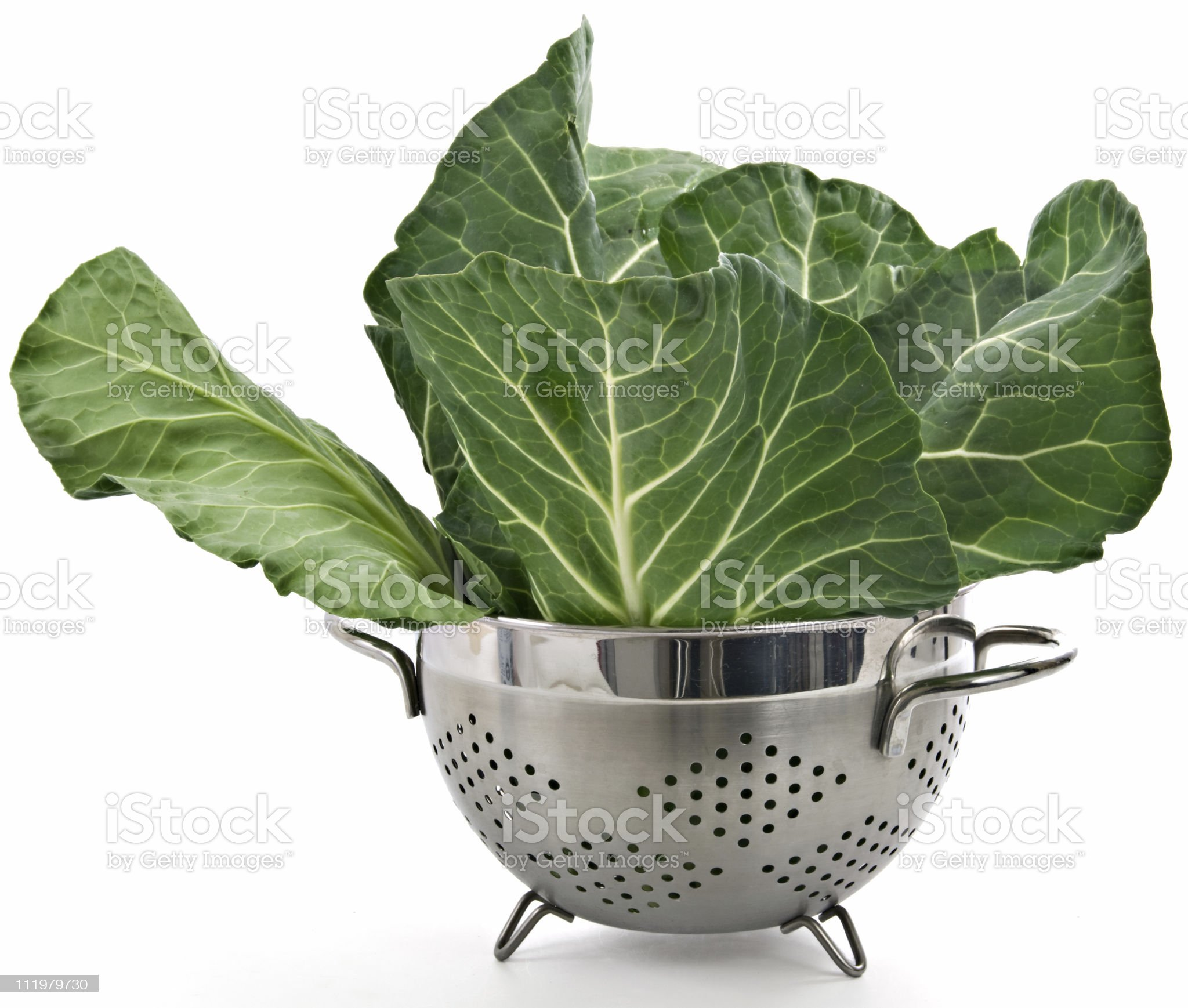Organic Green Collards in a Collander royalty-free stock photo