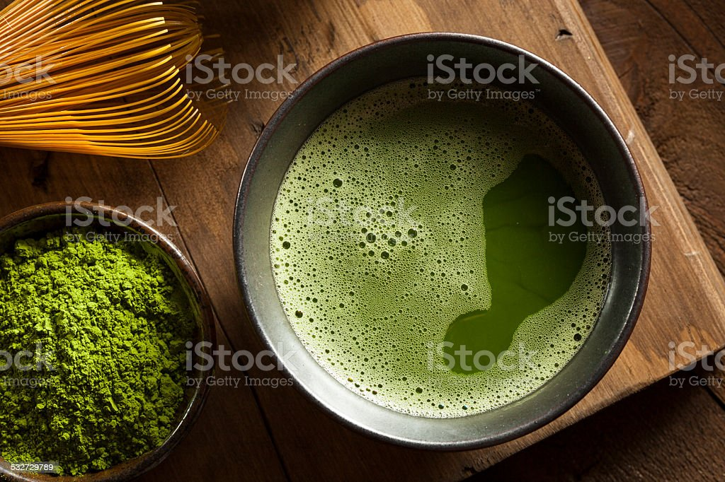 Organic Green Matcha Tea stock photo