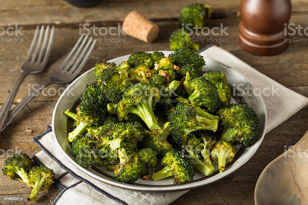 Organic Green Roasted Broccoli Florets stock photo