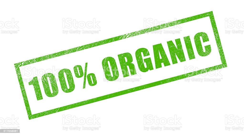 100% Organic Green Rubber Stamp stock photo