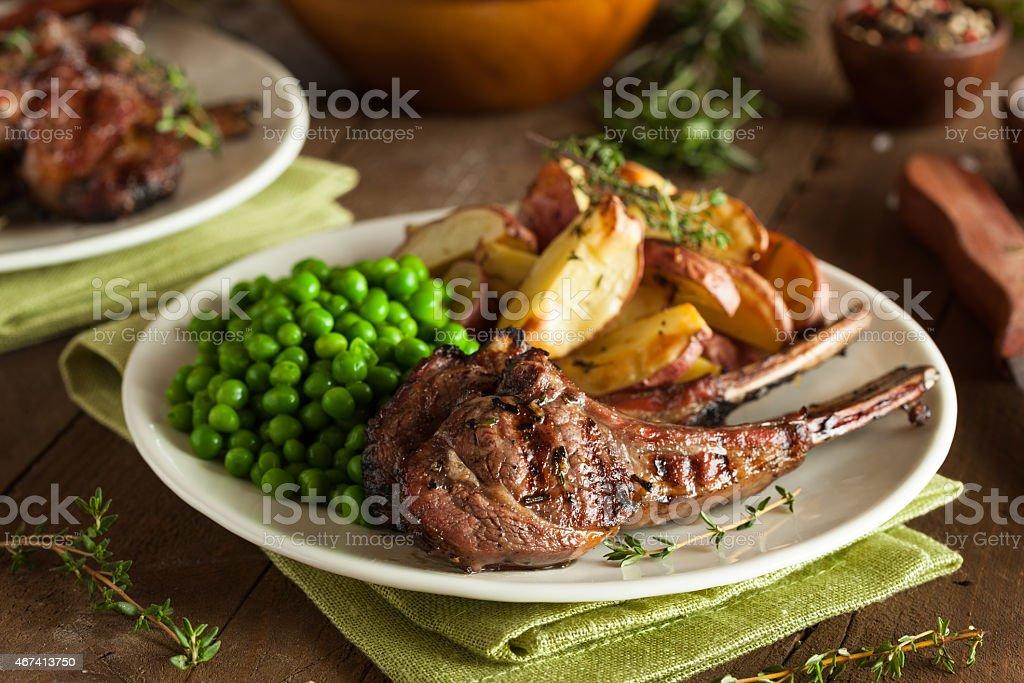 Organic Grilled Lamb Chops stock photo