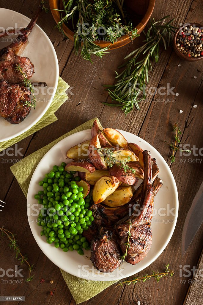 Organic Grilled Lamb Chops stock photo