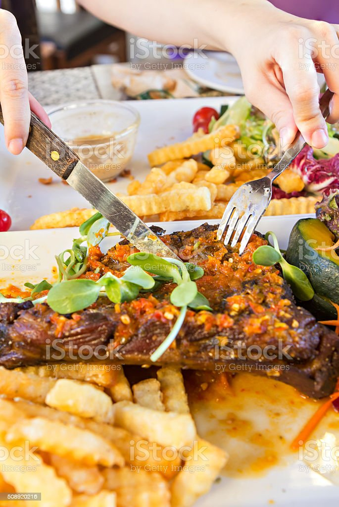 Organic Grilled Lamb steak and vegetables stock photo