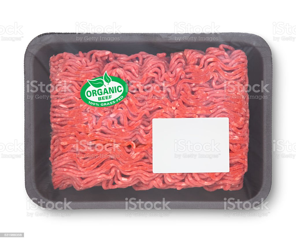 Organic Ground Beef (with path) stock photo