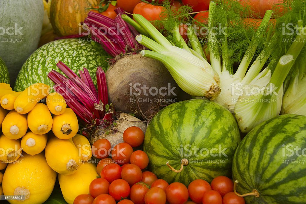 Organic Healthy Vegetables and Fruits royalty-free stock photo