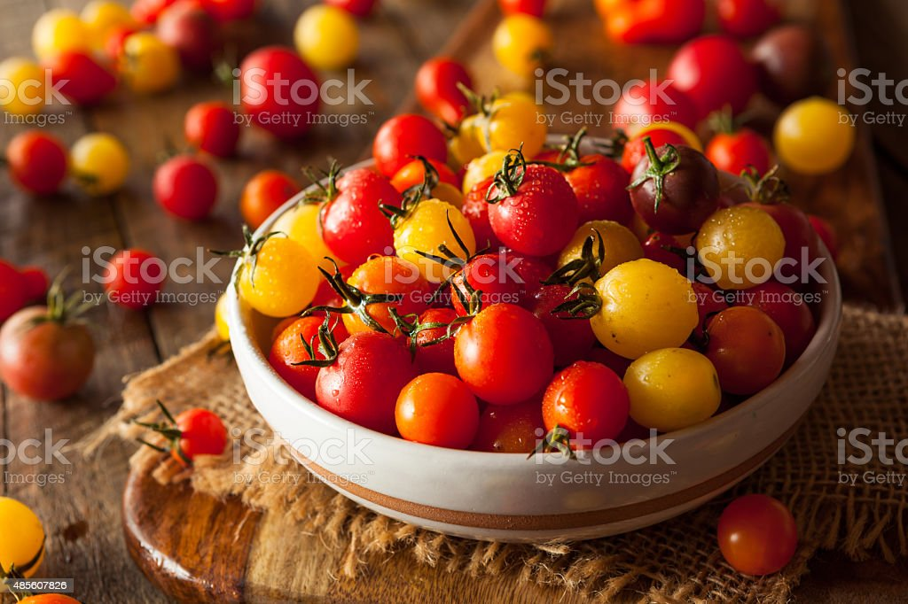 Organic Heirloom Cherry Tomatos stock photo