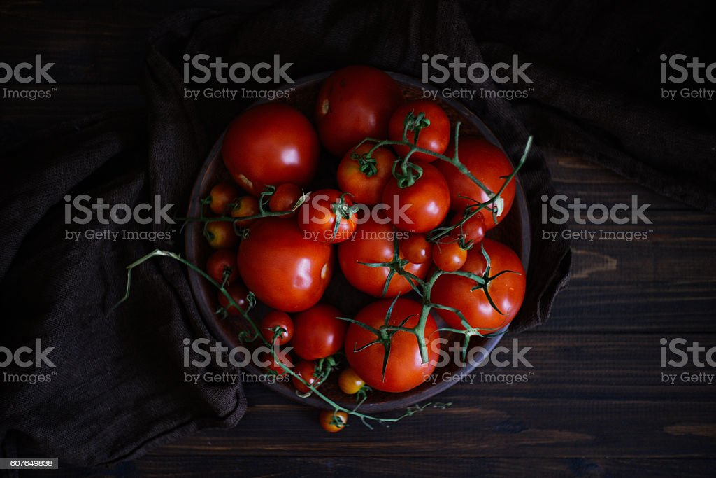 Organic Homegrown Fresh Summer Tomatoes stock photo