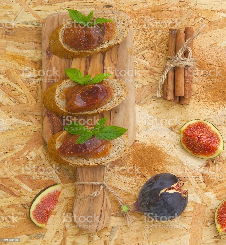 Organic homemade fig marmalade stock photo