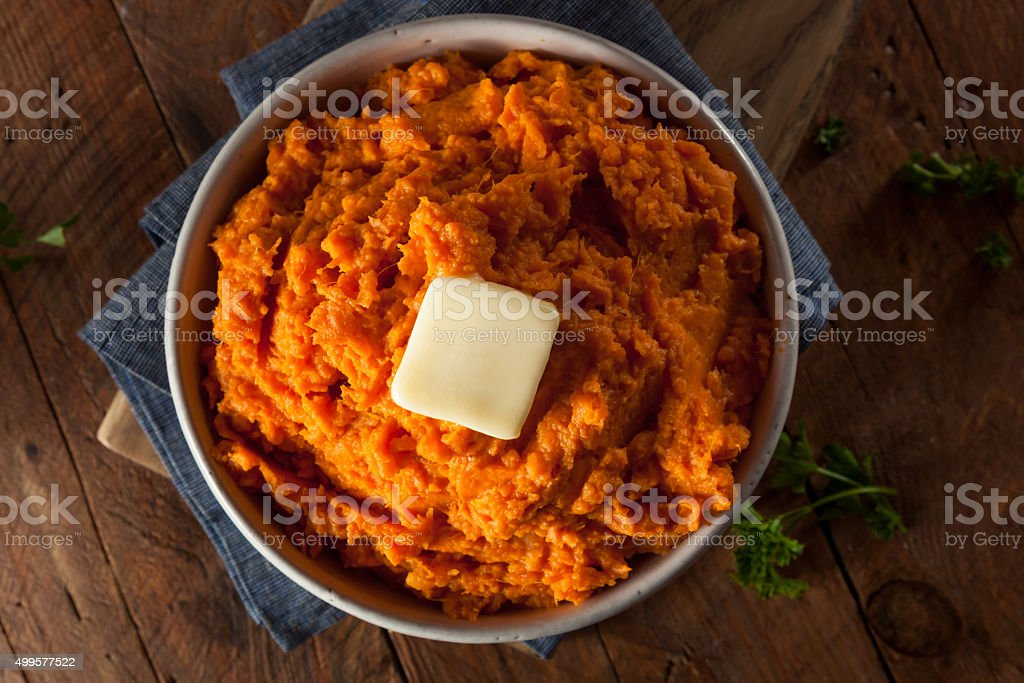 Organic Homemade Mashed Sweet Potatoes stock photo