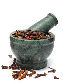 Organic Indian Clove bud (Syzygium aromaticum) on marble pestle