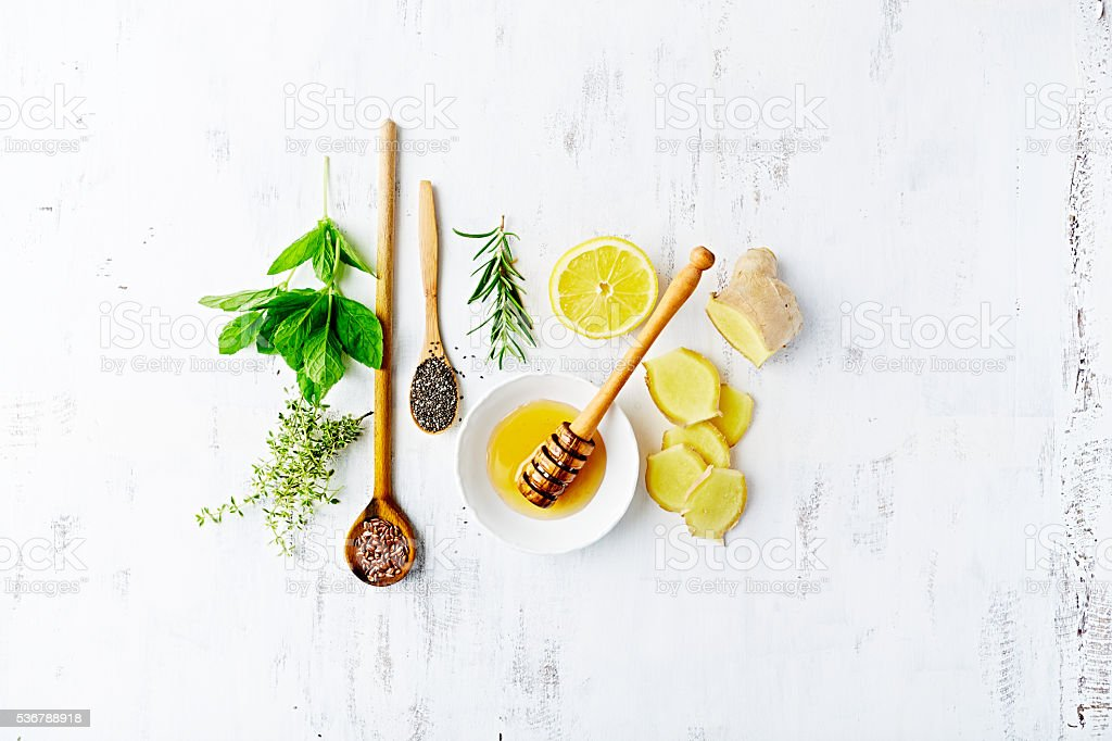 Organic Ingredients for a Detox Drink stock photo