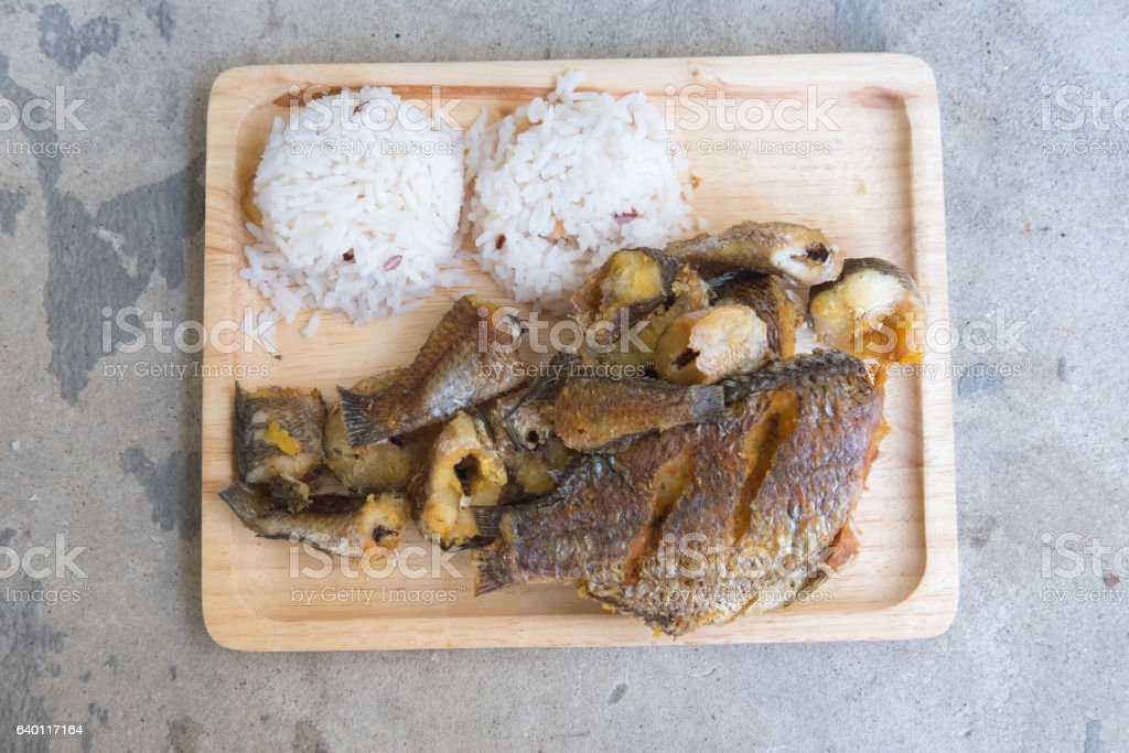 Organic jasmine rice with fried of striped snakehead fish. stock photo