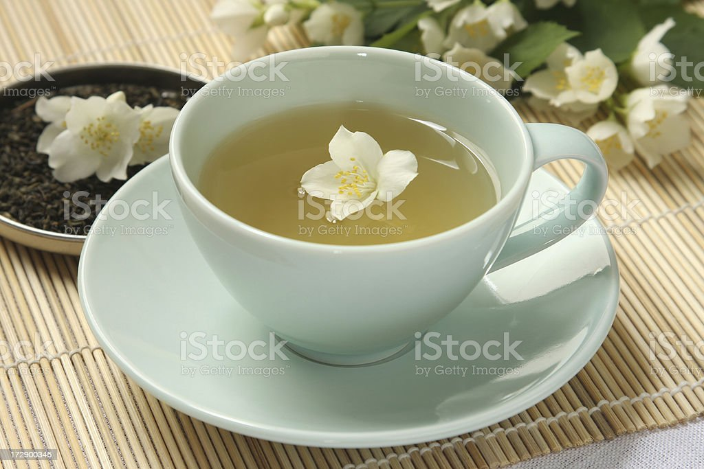 organic jasmine tea stock photo