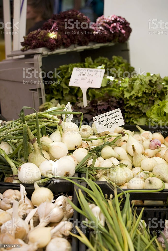 Organic labeled fresh produce stock photo
