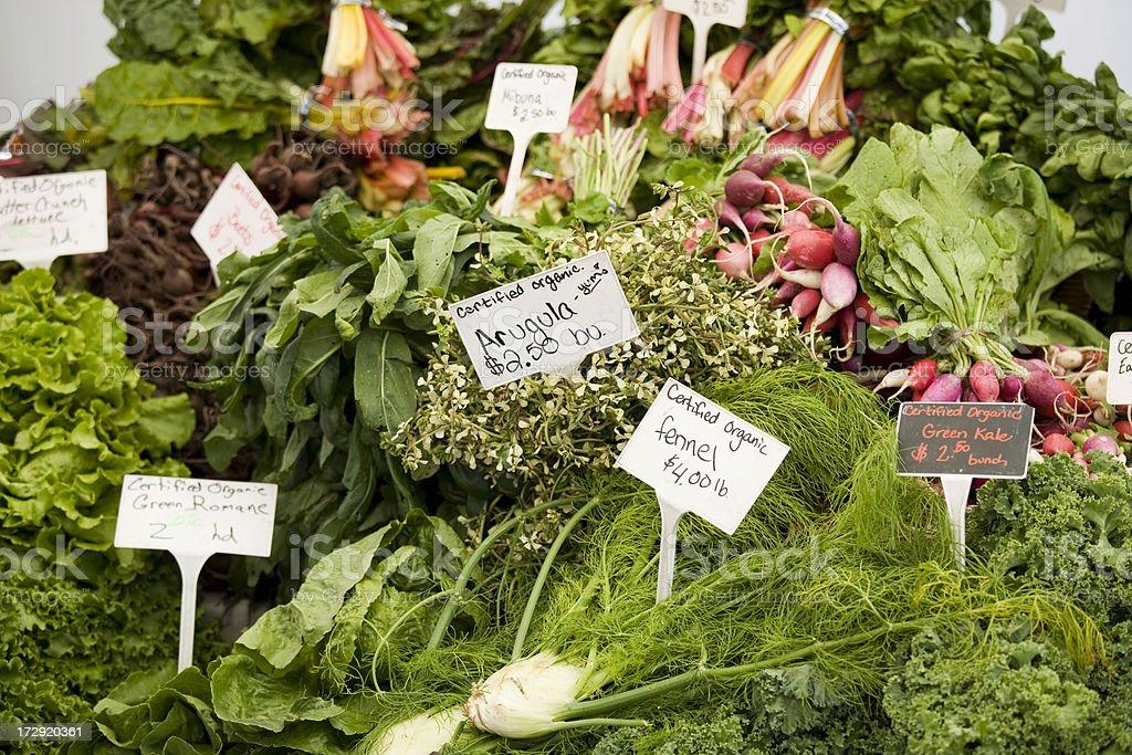 Organic labeled fresh produce stock photo