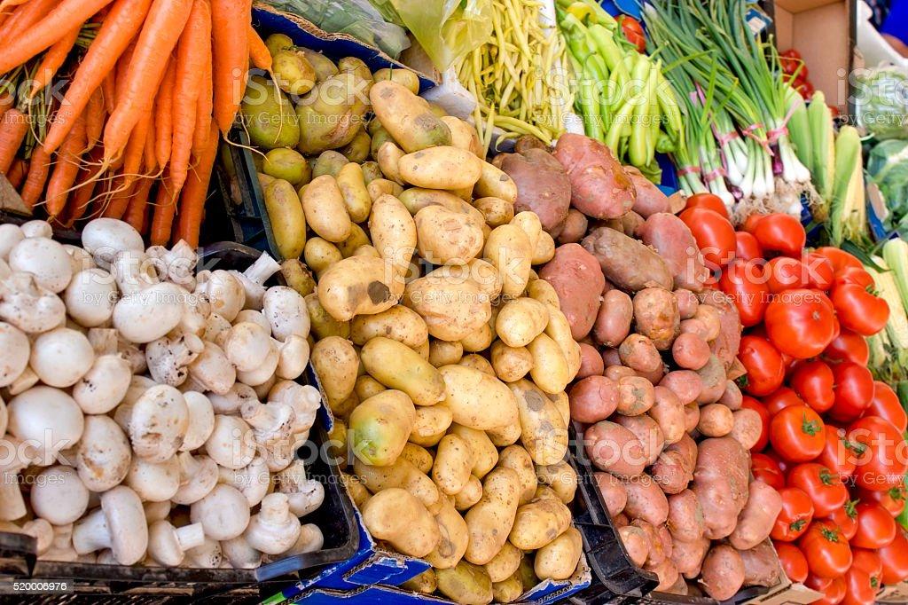 Organic market - Organic vegetables on farmer market stock photo