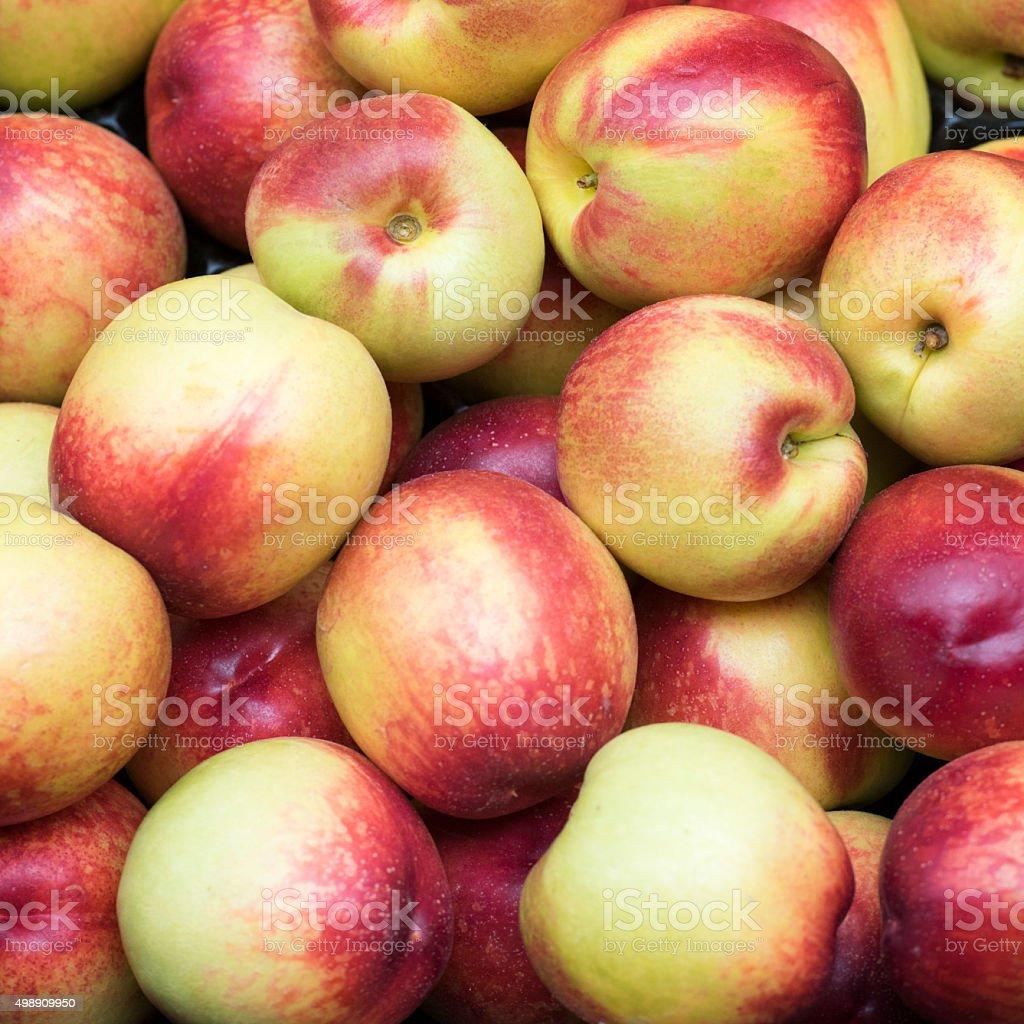 Organic Nectarines, Farmer's Market, Background stock photo