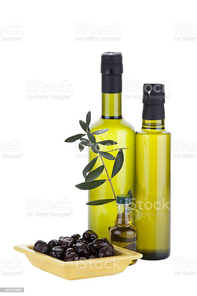 Organic Olive Oil and Different  Bottles ( Clipping Path ) stock photo