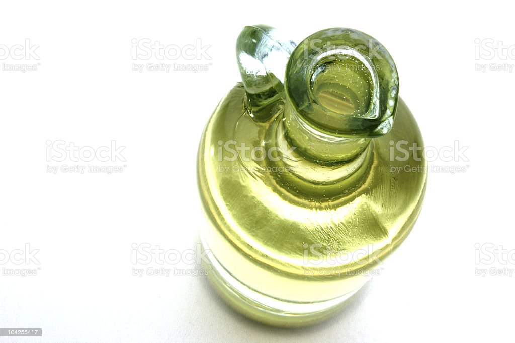 organic olive oil in a glass bottle stock photo