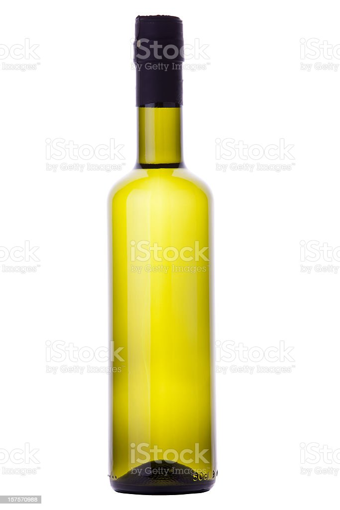 Organic Olive Oil or White Wine Bottle With Clipping Path stock photo