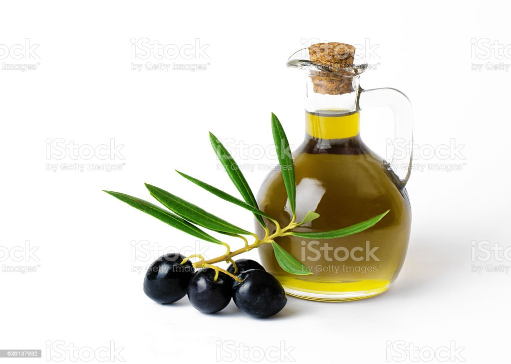 Organic Olive Oil  with bunch of olives stock photo