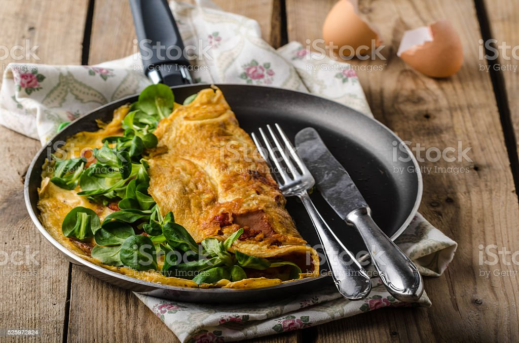 Organic omelette with herbs stock photo