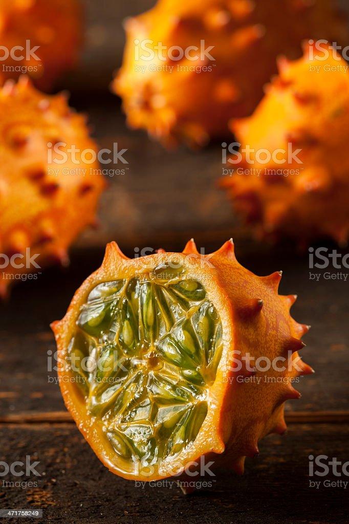 Organic Orange Kiwano Melon stock photo