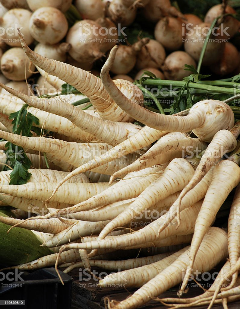 Organic Parsnips stock photo