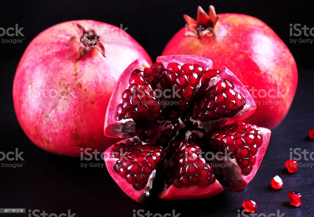 Organic pomegranate. Healthy food. stock photo