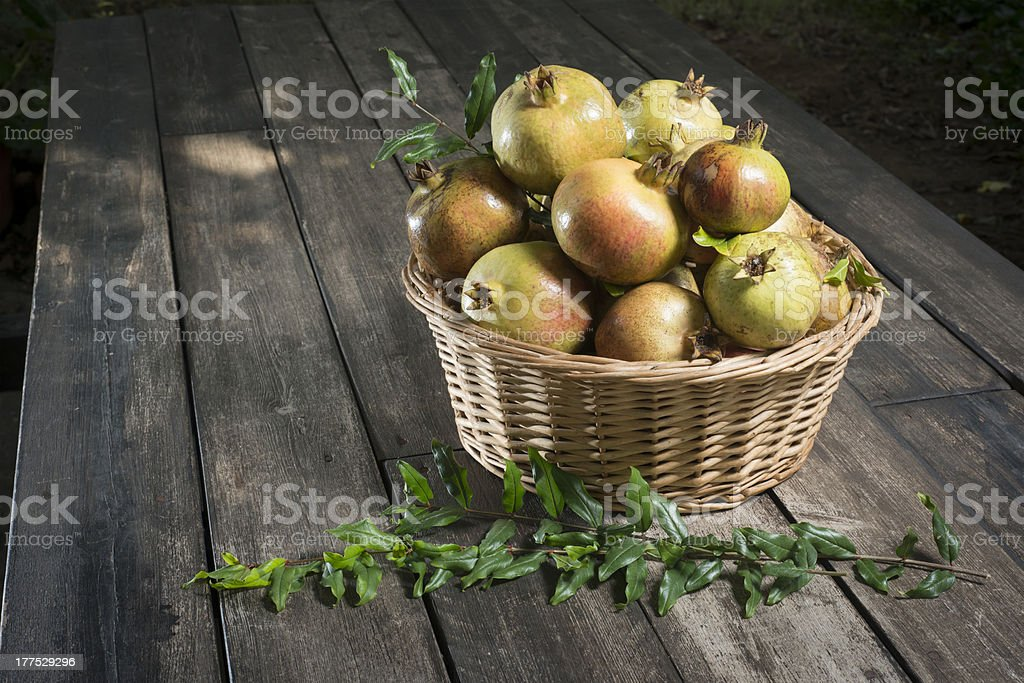 Organic pomegranates royalty-free stock photo