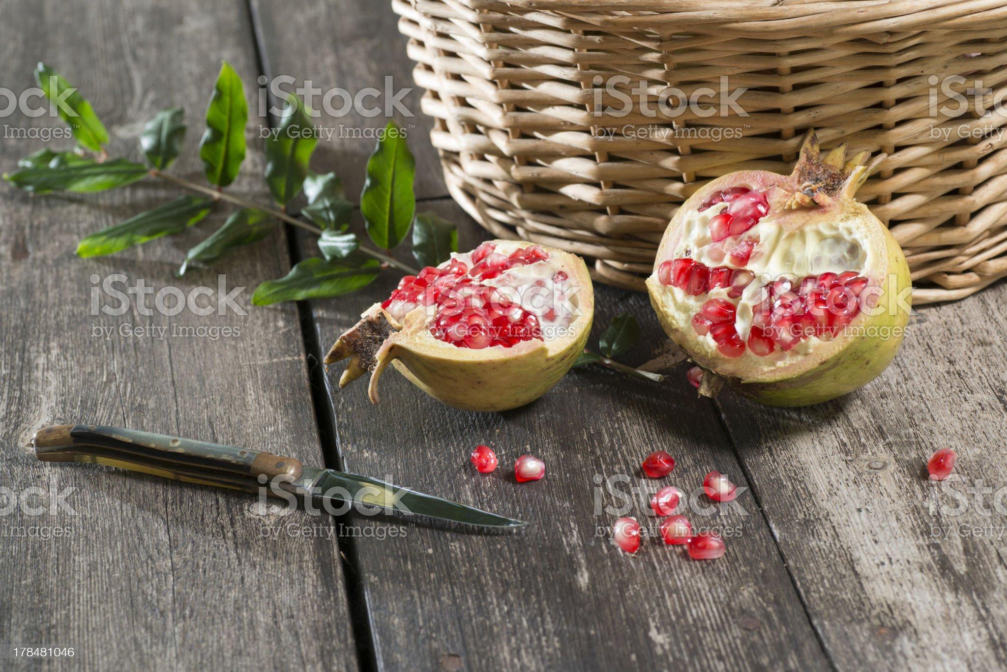Organic pomegranates royalty-free stock photo