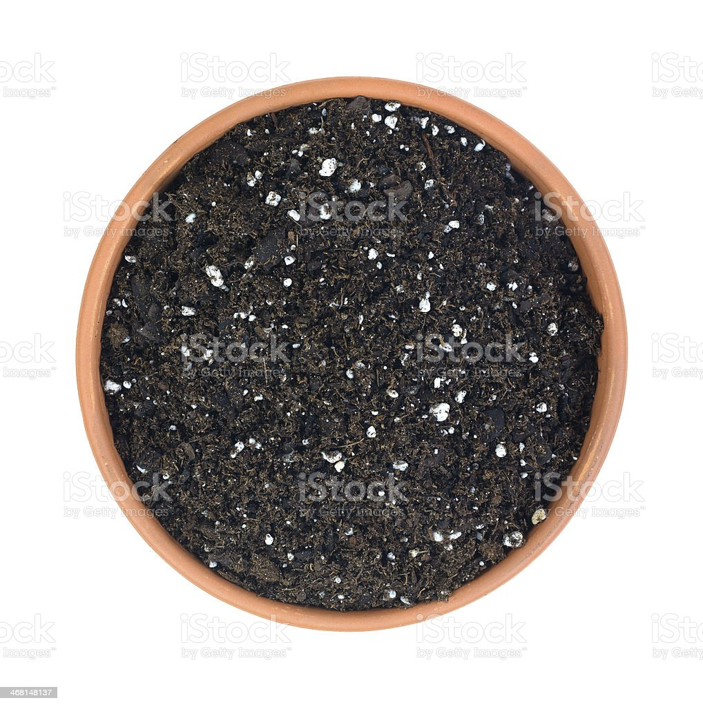 Organic potting soil in clay pot stock photo